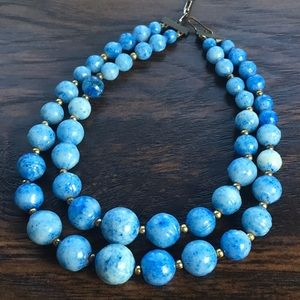 Vintage 50s 60s Double Strand Necklace Blue Beads
